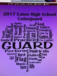Word art colorguard tee
