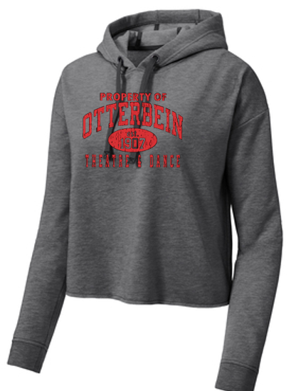 Ladies Tri blend Cropped Hoodie-Otterbein Theatre and Dance 2021