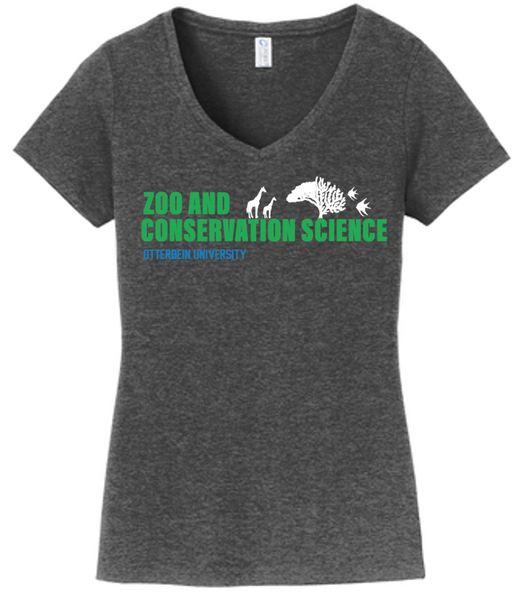 Ladies fit V-neck Tee- Otterbein Zoo & Conservation Science