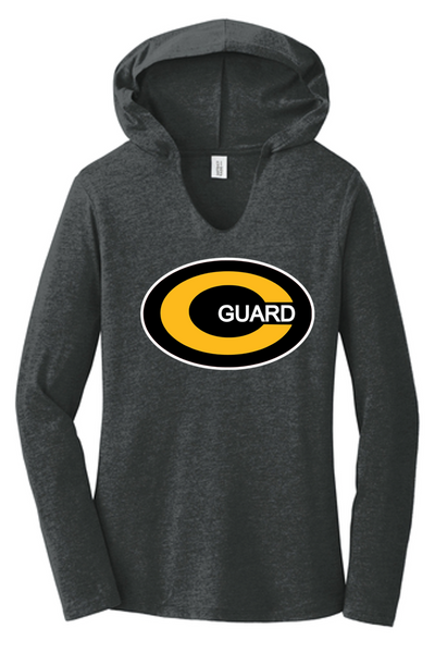 Ladies long sleeve hooded tee-Centerville Jr.  Color Guard 20