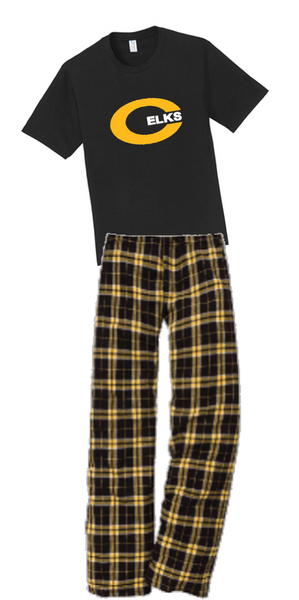 Short sleeve T-shirt/Flannel lounge pants combo-WMS 21