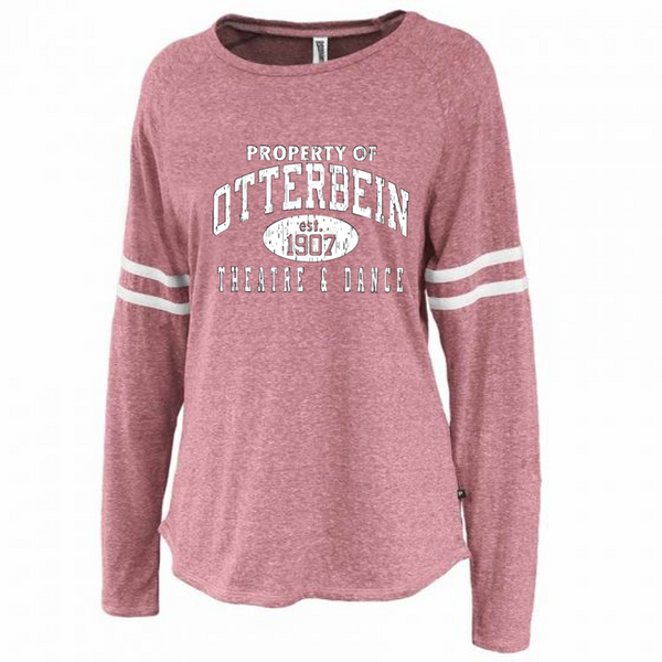 Ladies Tri blend stripe-Otterbein Theatre and Dance 2021