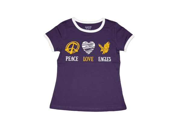 Ladies Peace Love Eagles Graphic Tee