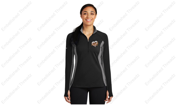 Ladies Sport Wick Colorblock Stretch 1/4 zip pullover-BME band gear '18