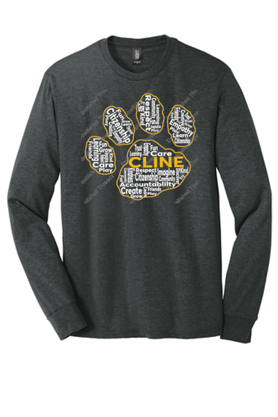 Adult Long sleeve Tri blend Tee-Cline fall 18