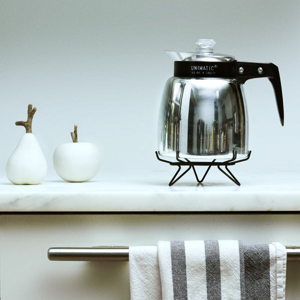 "The Unimatic, known from the Netflix documentary ""Coffee For All"" is a rare, limited edition percolator coffee pot with a twist. They were made in the likeness of the percolator coffee pots popular in the 1950s and 1960s but changed to incorporate ideas from the way the creator's Mother's turn of the century stove in Southern Italy functioned."