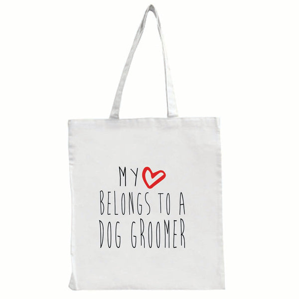 My Heart Belongs To A Dog Groomer - Large Tote Shopping Bag