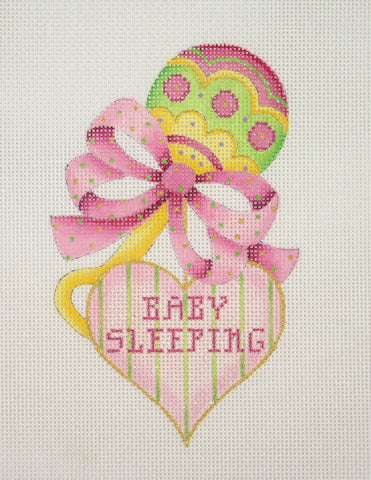 Baby / Sleeping Sign / Rattle with Heart / Pink