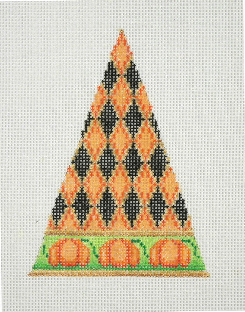 Halloween / Triangle / Orange, Black & Gold Diamond Pattern