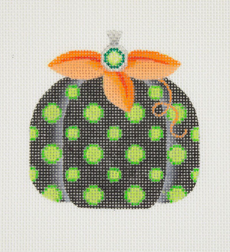 Halloween / Pumpkin / Black with Green Polka Dots