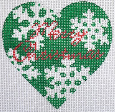 Green Snowflake Heart