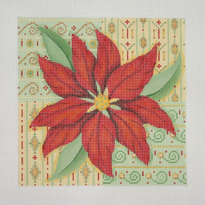 Christmas Pillow / Poinsettia with Patterned Background