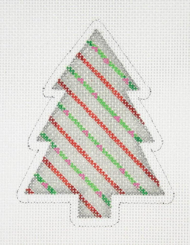 Mini Tree - Silver with Green & Red Stripes BB0758