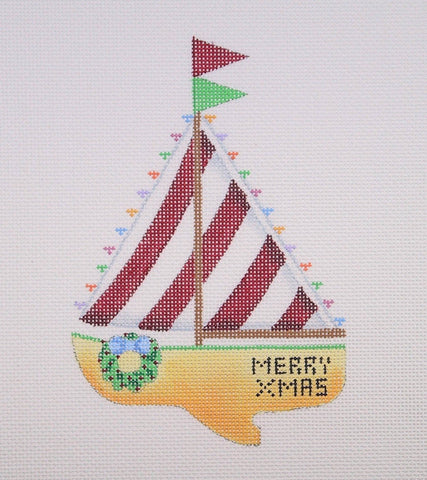 Christmas by the Sea ­ Merry Xmas Sailboat