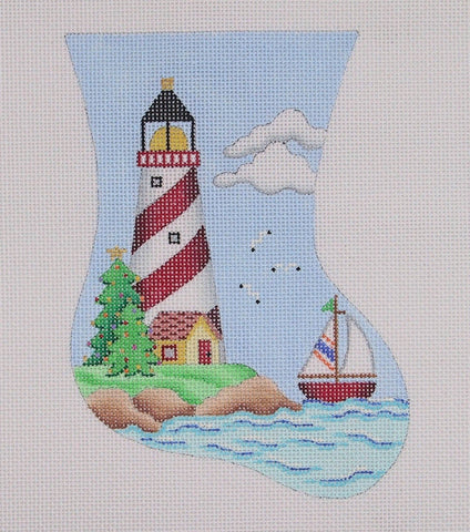 Christmas Mini-Sock / Red and White Lighthouse / Sailboat
