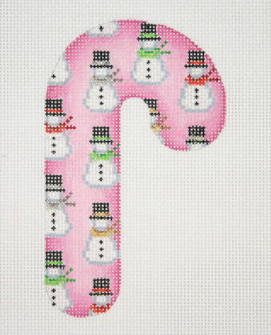 Candy Cane ­ Pink with Snowmen