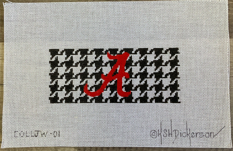 "COLL-01 - Mini round – Alabama Red ""A"" on Black & White Houndstooth"
