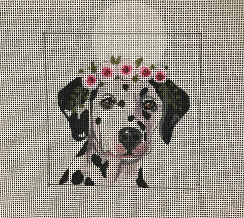 Dalmatian with Floral Crown