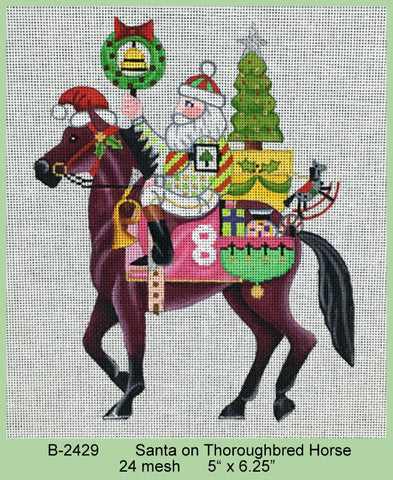 Santa on Thoroughbred Horse   24 mesh