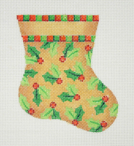 Christmas Mini-Sock / Gold / Holly