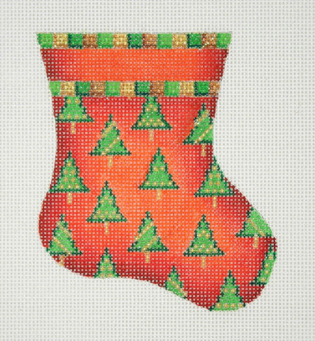 Christmas Mini-Sock / Red / Trees