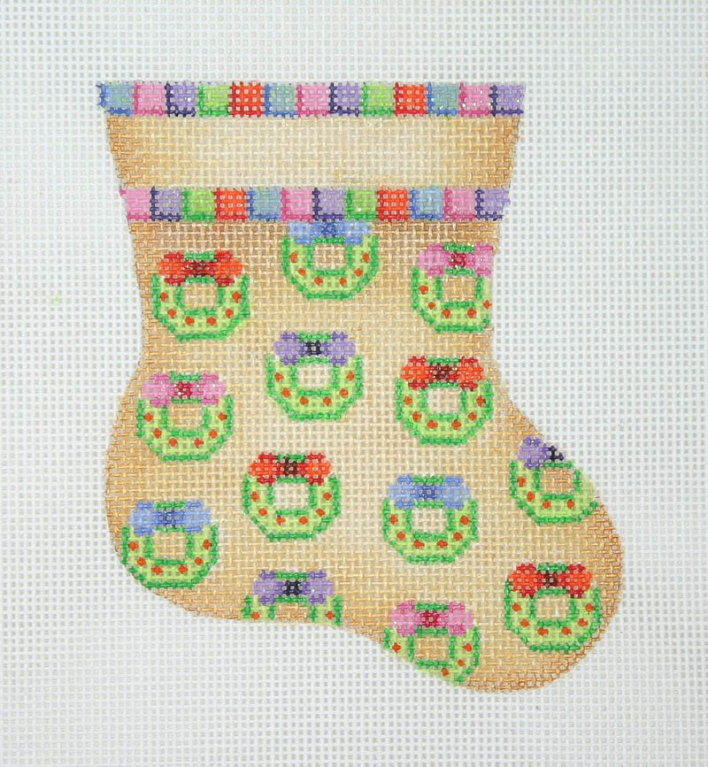 Christmas Mini-Sock / Gold / Wreaths