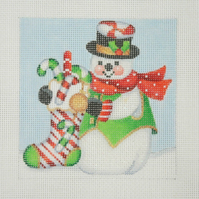 Christmas Ornament / Snowman Square / Candy Cane Sock