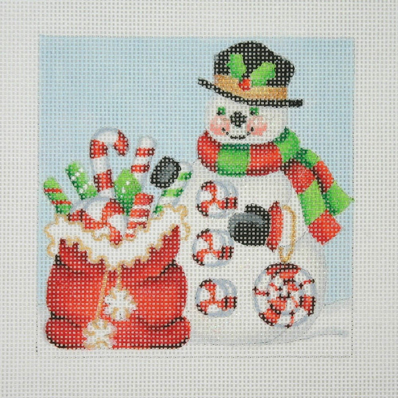 Christmas Ornament / Snowman Square / Santa Bag with Candy Canes