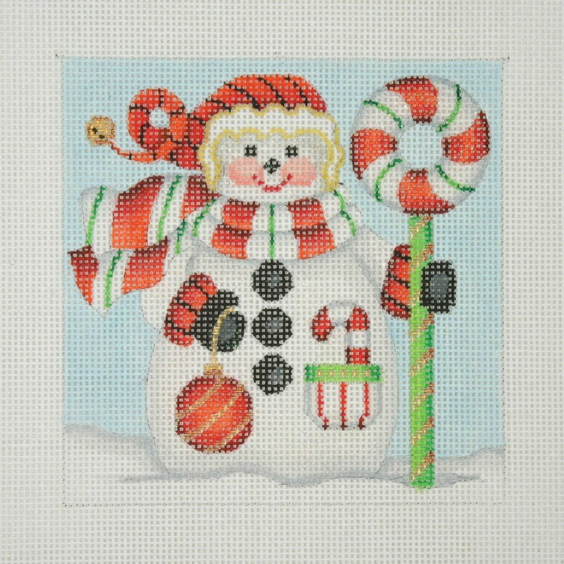 Christmas Ornament / Snowman Square / Candy Cane Wreath