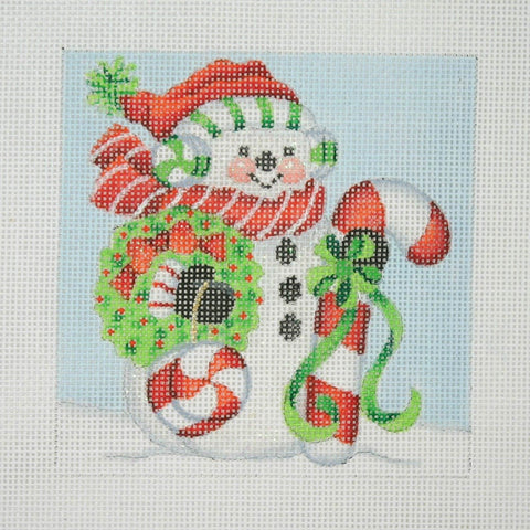 Christmas Ornament / Snowman Square / Large Candy Cane & Peppermint