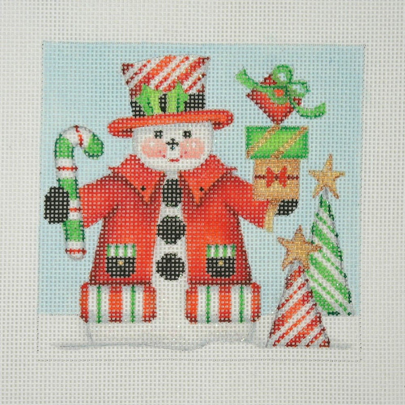 Christmas Ornament / Snowman Square / Candy Cane Top Hat & Trees