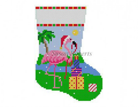 Flamingo w/Presents, mini stocking   5415