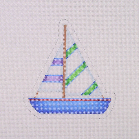 By the Sea / Sailboat / Blue, Green, Purple
