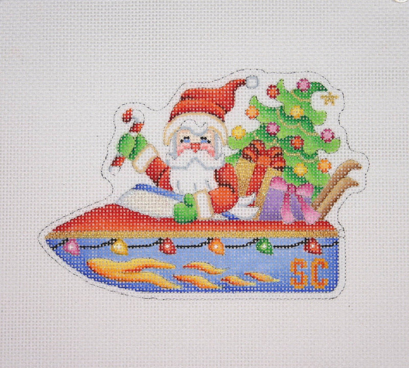 Christmas Ornament / Santa on the move in a Speed Boat
