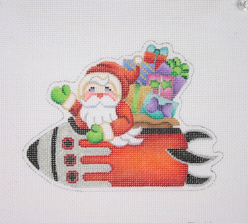 Christmas Ornament / Santa on the move in a Rocket