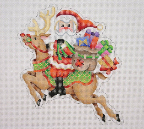 Christmas Ornament / Santa on the move on a Flying Reindeer