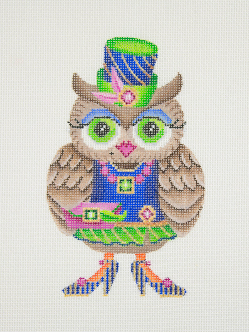 Owl / Blue & Green Hat / Blue Eye Shadow