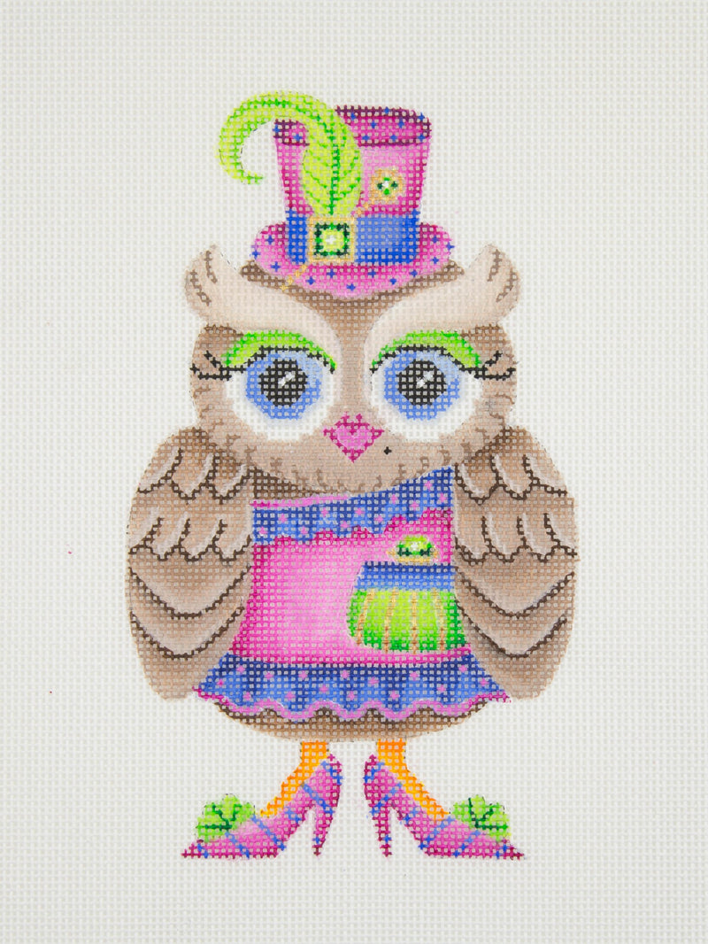 Owl / Pink & Blue Hat / Green Eye Shadow