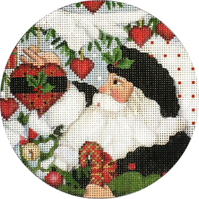 White Santa with Heart Ornament