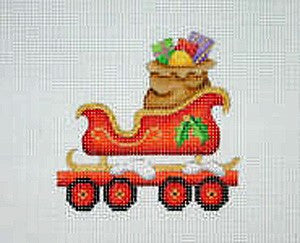 Christmas Ornament / Train / Flat Car with Sleigh & Toy Bag