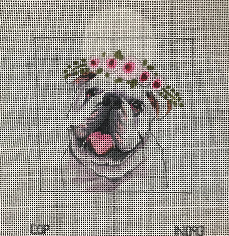 Bulldog with Floral Crown