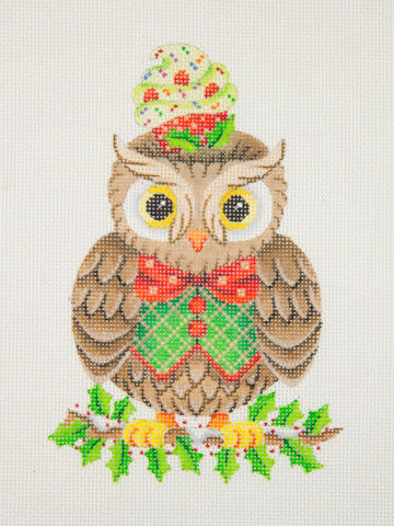 Owl / Holly Branch / Red, Green