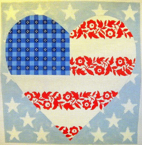 Floral Flag-  Stars & Stripes Heart
