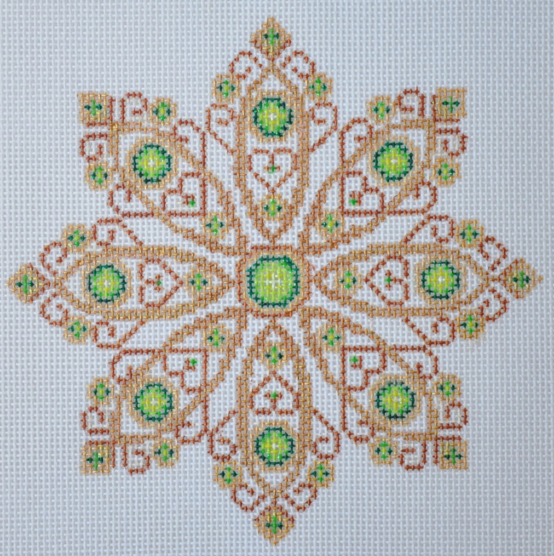 Christmas Ornament / Gold Jeweled Snowflake / Green Jewels