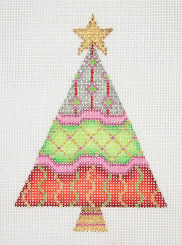 Christmas Ornament / Triangle Tree / Silver, Lime Green and Red with Patterns