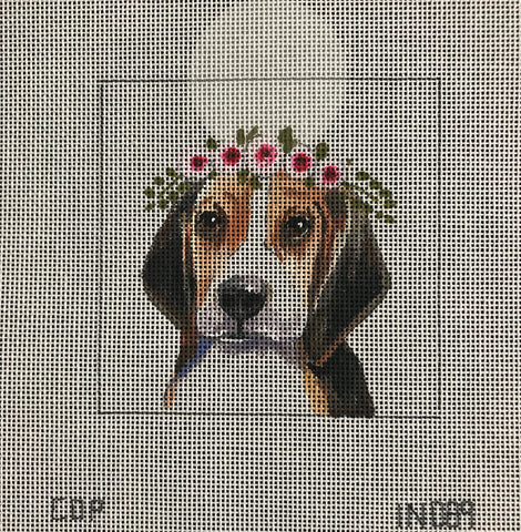 Beagle with Floral Crown