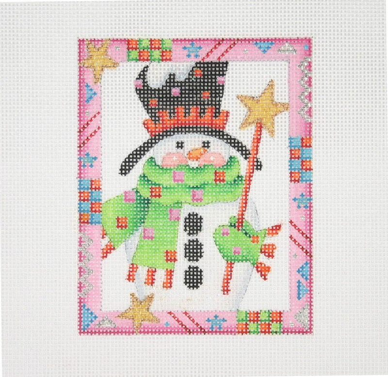 Christmas Ornament / Snowman / Star / Pink Border