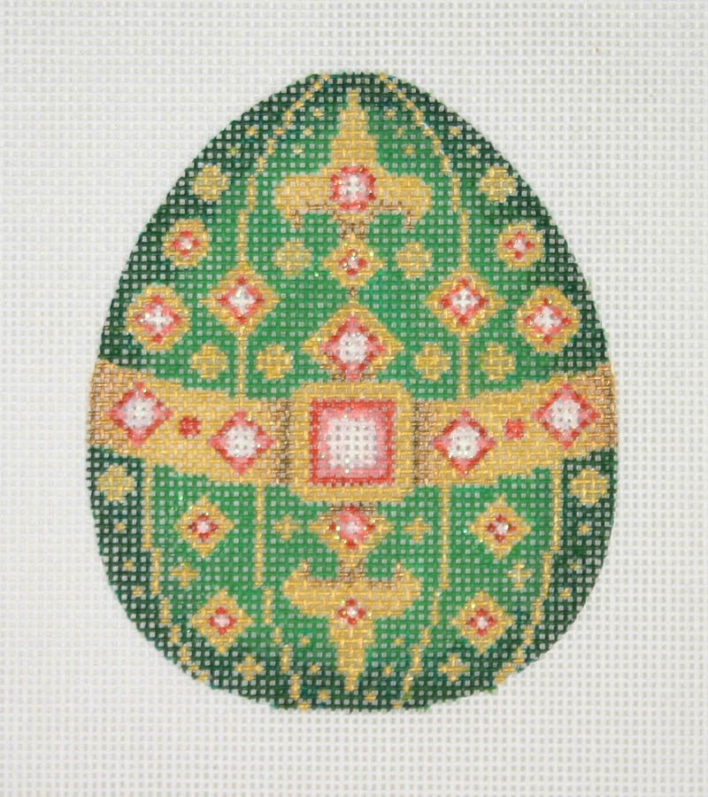 Jeweled Egg / Green & Gold / Pink Jewels