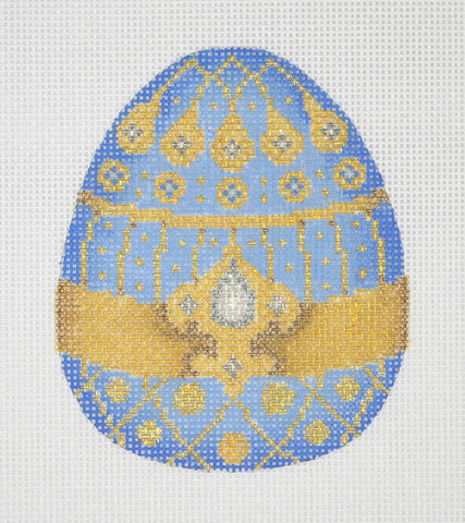 Jeweled Egg / Pale Blue & Gold / White Jewels
