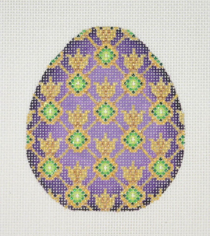 Jeweled Egg / Purple & Gold / Green Jewels